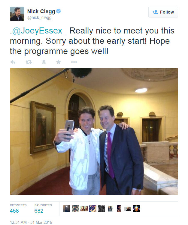 Nick Glegg & Joey Essex on Twitter
